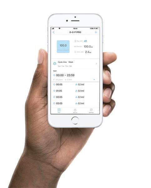 P1PRO Single Dosing pump iphone app hand_0.jpg